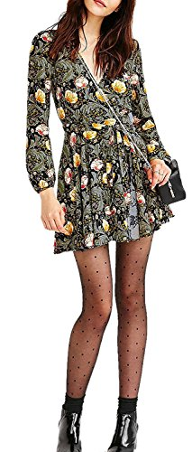 [sdk5SIUADT Fashion Women's Bohemian Floral Print Long Sleeve Chiffon Party Cocktail Dress Grey8] (60s Dress Up Ideas)