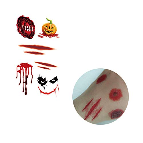 DICPOLIA Decoration Halloween Temporary Tattoo, Bleeding Wound Scar Stickers Paper Waterproof for Fool's Day Fun Cosplay Costumes Party (J)