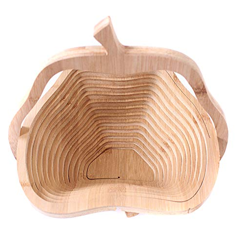Folding Fruit Basket Folding Bamboo Fruit Bowl Creative Fruit Storage Basket(pear)
