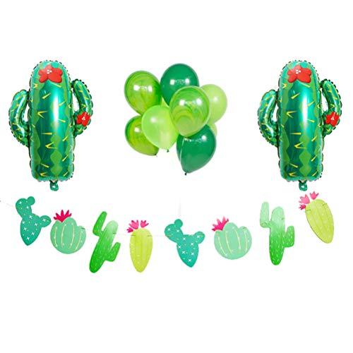 Amosfun Fije los Globos del Cactus de la Hoja de los Globos Redondos del látex de la Bandera de la Guirnalda del Cactus para...