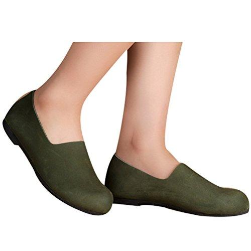 Vogstyle Vrouwen Nieuwe Lederen Platte Schoenen Effen Kleur Zwartgroene-art 3