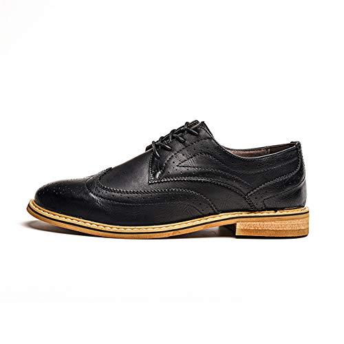 confortevole leggero uomo Chic Nero EU Color Brogue shoes casual da classiche Uomo Scarpe Scarpe Oxford e Nero 41 stampe Pelle Dimensione Business Xiaojuan wB0zAqgS