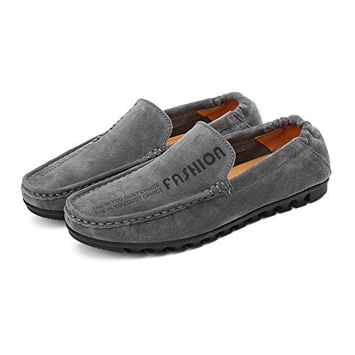 Casual elástico Mocassins Suave detrás Boat Conducción shoes los Mocasines on Loafers Hombres Hombre para de Suela con Piso Penny 2018 Slip Gris Hongjun a0CqC