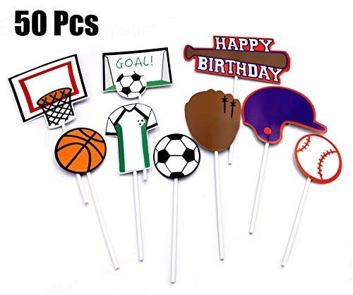 B-FUL 50 PCS Basketball Football Baseball Cake Cupcake Topper Decorations For Wedding,Baby Show,Kid Birthday Party (Football Cup Cake Topper)