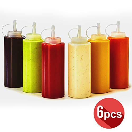 On Condiment Bottle, Set of 6 Plastic Squeeze Condiment Bottles for Mustard Dressing Ketchup BBQ Sauce Mayonnaise Syrup Honey Arts Crafts, 16 oz Condiments Squirt Bottle Leakproof Twist On Cap Lids ()
