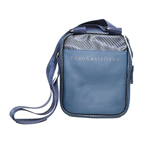 Pouch Bag Naples Uomo Blu-nero Similpelle 12882