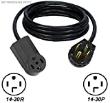 3-FT DRYER EXTENSION POWER CORD FEMALE 14-30R 4-PRONG RECEPTACLE to MALE 14-30P 4-PIN PLUG NEMA 250V FX312