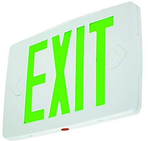 Ultra Thin LED Exit Sign Emergency Light Lighting Emergency LED Light/Battery Back-up/Single Face/White Housing/UL Certified (Green (Letters White Housing Battery Backup)