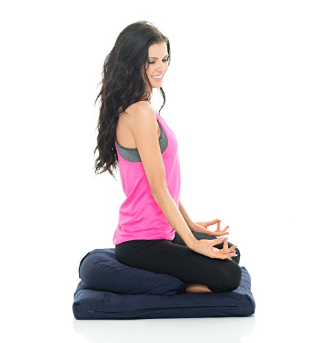 Organic Crescent Zafu and Zabuton Meditation Cushion Set (Blue). Hand Made With Durable Eco-Friendly Materials. Made By The Pros Choice Awaken Meditation. by Awaken Meditation