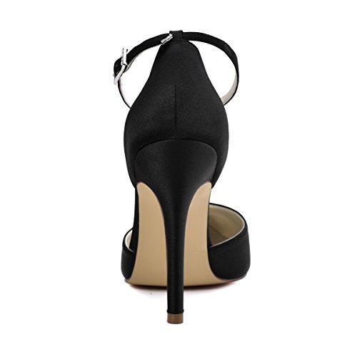 ElegantPark HC1602 Women's Pointed Toe High Heel Ankle Strap D'orsay Satin Dress Pumps Black US 5