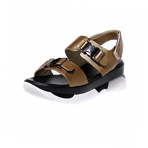 Kitten loop Sandals Womens Solid AmoonyFashion Hook Open Toe Gold Cow Leather Heels and WzBY61q4