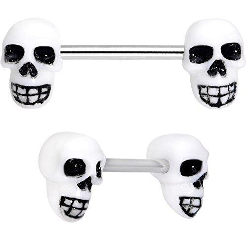Body Candy Steel White Gothic Skull Barbel Nipple Ring Set of 2 14 Gauge 9/16