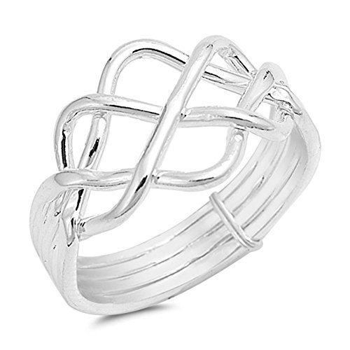Sterling Silver Puzzle Ring - High Polish Bar Knot Puzzle Ring New .925 Sterling Silver Band Size 7