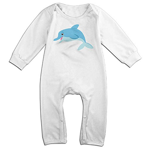 [VanillaBubble Dolphin Cartoon For 6-24 Months Infant Fashion Baby Climbing Clothes White Size 18] (Barney Infant Costumes)
