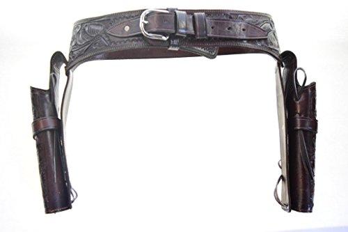 Gun Holster & Belt Cowboy Western Style Rig .38/.357 Cal Double Drop Holster Standard .38/.357 Barrel Brown Floral Tooled Size 42 (Western Rig)