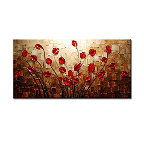 (100% Hand Painted Textured Palette Knife Red Flower Oil Painting Abstract Modern Canvas Wall Art Living Room Decor Picture,110x220cm(44x88inch),HY141414-A)
