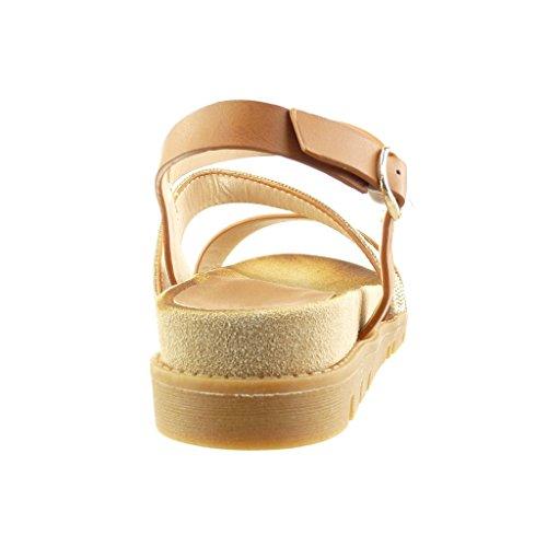 Bride Multi Chaussure Bijoux Femme 4 Mode Angkorly Lanière Talon Sandale Mule compensé Camel CM YdwYq0