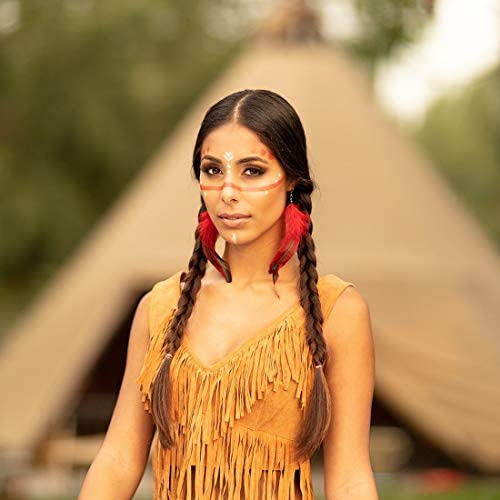 NET TOYS Elegante Colgante de Plumas Disfraz India - Rojo-Negro 12cm - Extraordinario Accesorio Disfraz Dama Pocahontas Colgantes Joyas Indias - El Punto Alto para Festival y Fiesta de Disfraces: Amazon.es: Juguetes