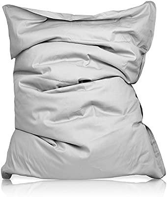 Lumaland PUF otomano Puff XXL 140 x 180 cm 380l con Relleno Innovador Maxi Puff en algodón para Interiores Gris