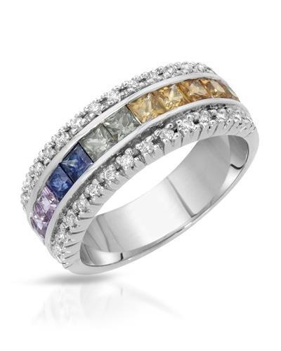 14K White Gold Multi-Color Sapphire & Round Diamond Ring