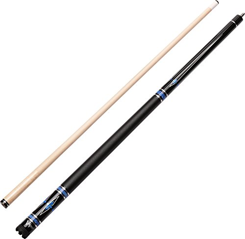 "Viper Sinister 58"" 2-Piece Billiard/Pool Cue, Black with Blue/Silver Inlay, 19 Ounce"