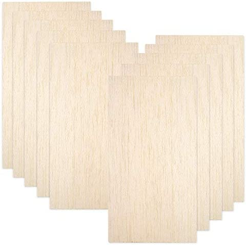 10 Pack Balsa Wood Sheets, Natural Unfinished Wood for House Aircraft Ship Boat DIY Wooden Plate Model, Craft Project 100x200x1.5mm