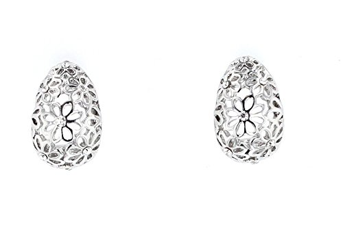 Violet & Virtue Women's Filagree Daisy Post Hoop Earrings (Silver Tone)