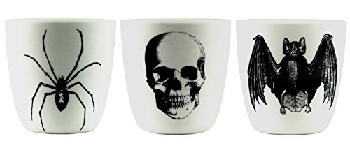 Party Explosions Halloween Spider, Skull & Bat White Porcelain Votive Candle Holders - Set of 3 ()