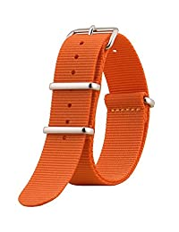NATO G10 Nylon Premium Quality Replacement Watch Band Strap - 18mm / Orange - FITS ALL WATCHES - (Military Army, J. Crew, Timex Weekender, Daniel Wellington, Urban Outfitters, Luminox, Seiko, Citizen, Blackout Watches, Victorinox Swiss Army, Rolex and more‎)