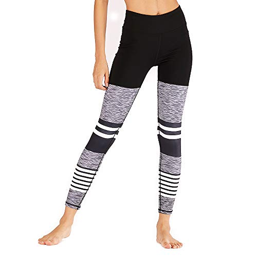 Eseres High Waisted Leggings for Women Striped Printed Yoga Pants Fitness Wear Grey