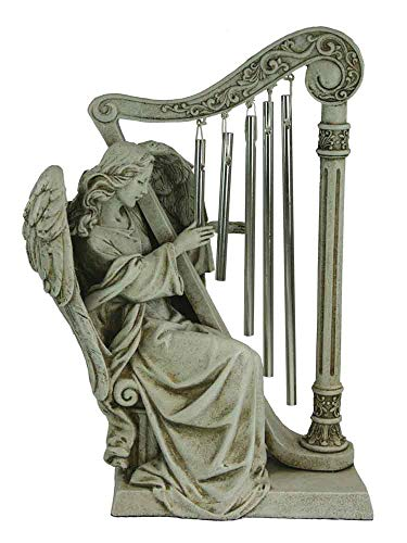 outdoor statue Angel Playing Harp Wind Chimes ()
