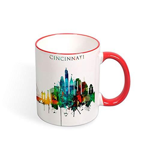 Cincinnati Watercolor City Mug, Original USA Skyline Tea Cup, Watercolor Silhouette, Ohio Travel gift Office gift Mug ()