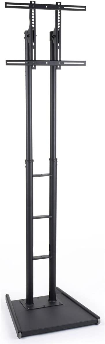 Displays2go Flat Panel TV Stands with Height Adjustable Bracket and Wheels Black MBFFACESTBK