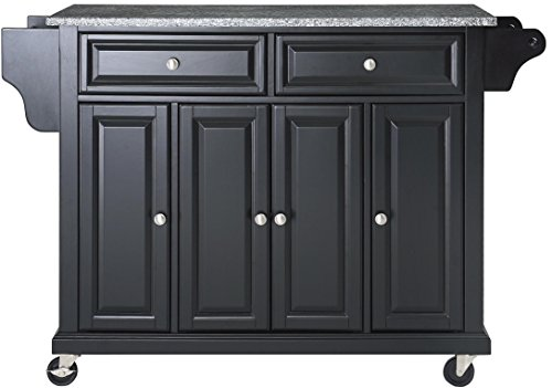 Crosley Furniture Rolling Kitchen Island with Solid Grey Granite Top - Black (Island Kitchen Marble)
