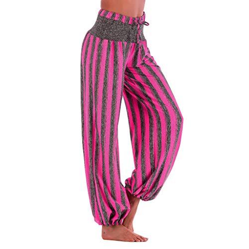 (ZEFOTIMWomen Fashion Striped Print Yoga Pant Casual High Waist Leggings Bloom Trousers(Hot)
