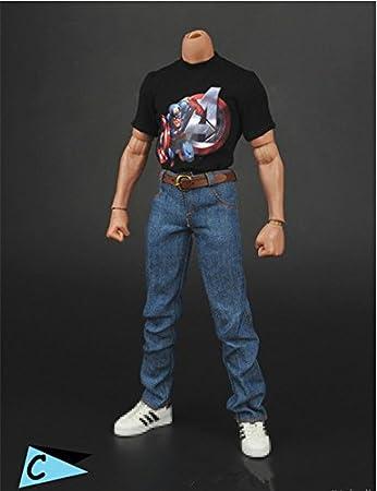 f53f490c2044a  ノーブランド 品 1 6 衣装 男性 フィギュア用 Tシャツ ジーンズ セット