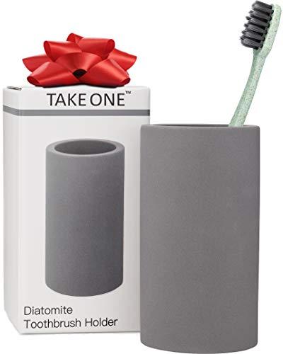 TakeOne. Organic Toothbrush Holder Stone Grey Diatomite Bathroom Countertop Organizer Stand