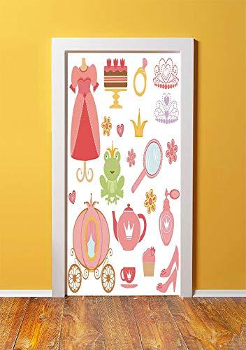 Kids Decor 3D Door Sticker Wall Decals Mural Wallpaper,Princess Tiara Tea Party Mirror Teapot Tea Party Frog Crown Fairy Cupcake Girls Decorative,DIY Art Home Decor Poster Decoration 30.3x78.14942,