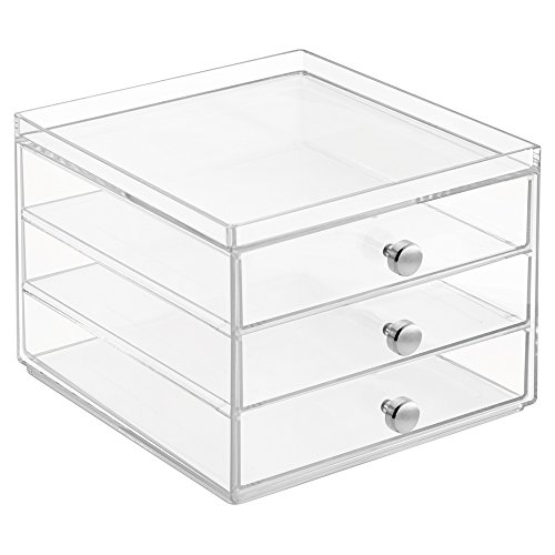 InterDesign Office Desk Organizer – Cabinet with 3 Slim Storage Drawers for Highlighters, Paper Clips, Scissors and Office Accessories, Clear (Slim Desks)