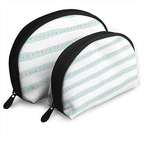 Ches Shell Bolsa portatil con cremallera 2 bolsos, apto para cosmeticos de mujer, bolsos/bolsos, accesorios de mujer, rayas dibujadas a m