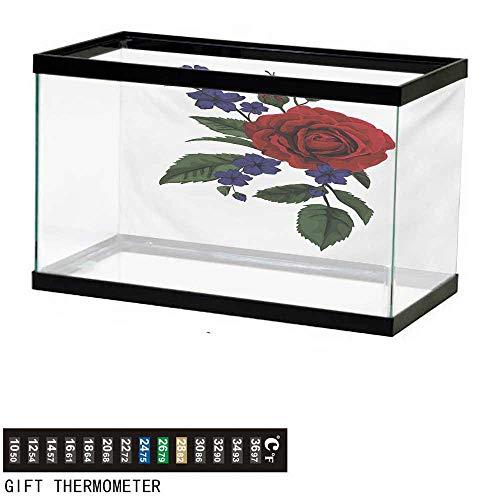 - wwwhsl Aquarium Background,Rose,Valentines Rosebud with Little Blossoms Love Passion Theme Artful,Ruby Violet Blue Hunter Green Fish Tank Backdrop 48