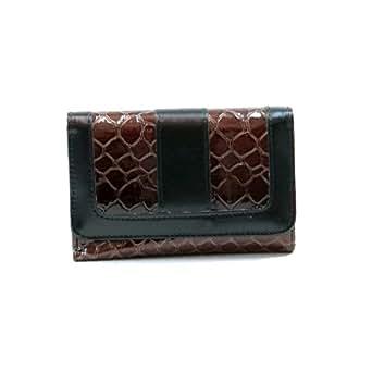 Dasein Women's Snake Skin Leather Like Fold over Flap Wallet Purse -Black/Brown