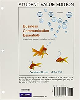 Business communication essentials student value edition 5th business communication essentials student value edition 5th edition courtland l bovee john v thill 9780132551441 business communication amazon fandeluxe Gallery
