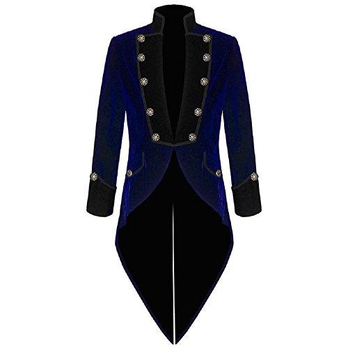 Darkrock Men's Velvet Vladimir Tuxedo Jacket Tail Coat Goth Steampunk Victorian (XXX-Large, Blue) for $<!--$69.00-->