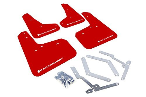 Rally Armor MF27-UR-RD/WH Red, White Mud Flap with Logo (13+ Ford Focus ST) - Ford Focus Mud Flaps