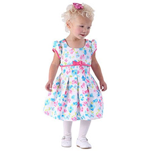 Jona Michelle Baby Girl's Cap Sleeve Floral Party Dress w/ Diaper Cover (Cotton Cap Sleeve Shell)