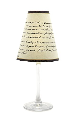 di Potter WS389 Paris Love Poem Paper Red Wine Glass Shade, Parchment (Pack of 12)