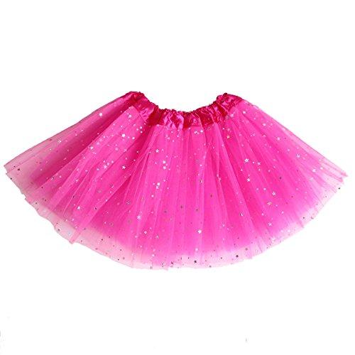 Beluring Womens Star Sequin Sparkle Glitter 3 Layers Tutu Skirt Dance Ballet (Skirt Mini Big Star)