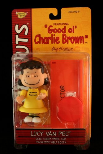 LUCY VAN PELT (YELLOW DRESS & CLASSIC SMILE) with Client Stool and Psychiatric Help Booth PEANUTS Action Figure from Good ol CHARLIE BROWN