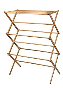 Home-it Bamboo Wooden Clothes Drying Rack, 14-1/2 x 29-1/2 x 41-3/4 - Inch